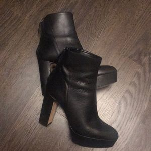 Zara Black Leather Platform Boots. Size 39